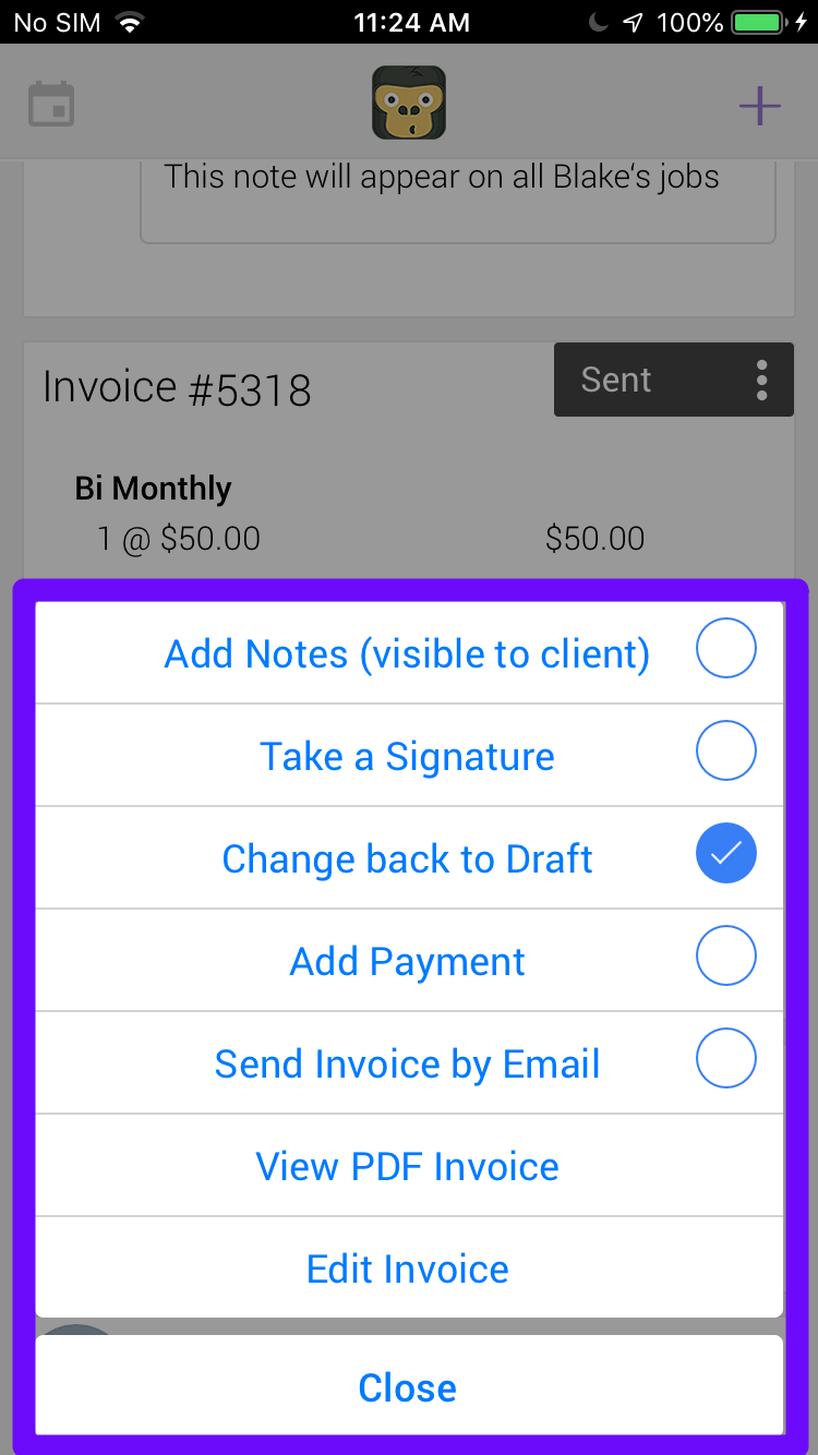 Invoice Menu - Pest Control Invoicing Software