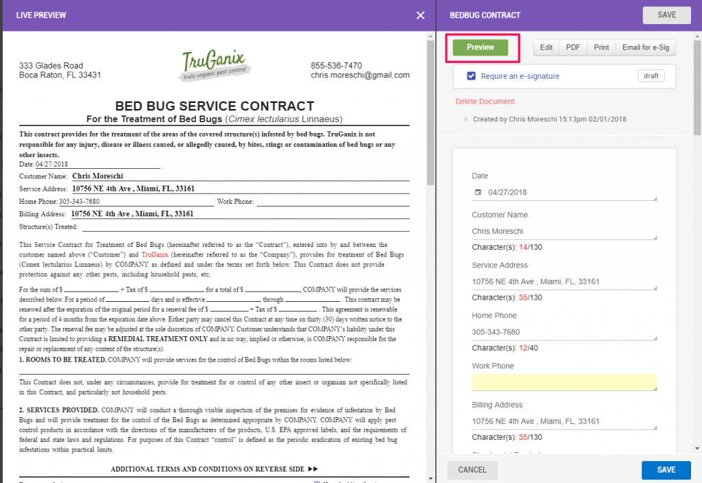 Bed Bug Service Contract
