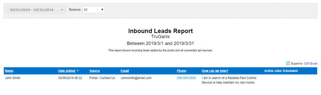 Inbound Lead Report - Customer Portal