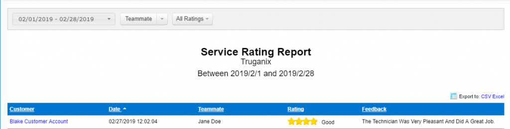Service Rating Report | Pest Control Reporting Feature