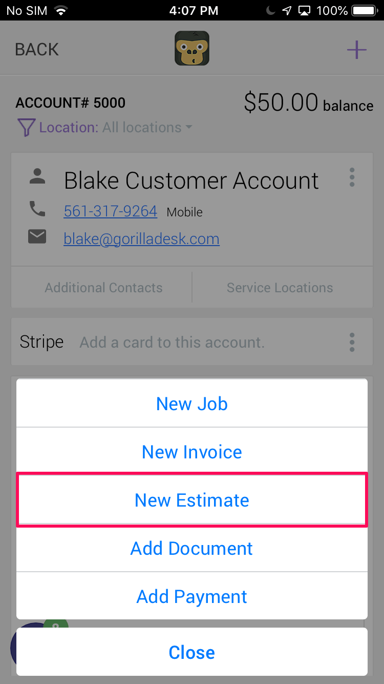 Create New Estimate - Field Service Estimate Software
