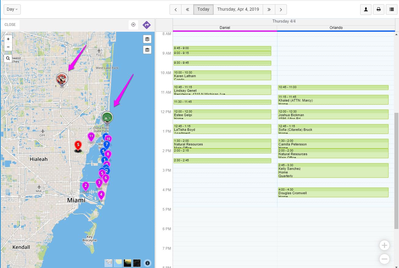 Technician Location Data - Field Service GPS Tracking Software