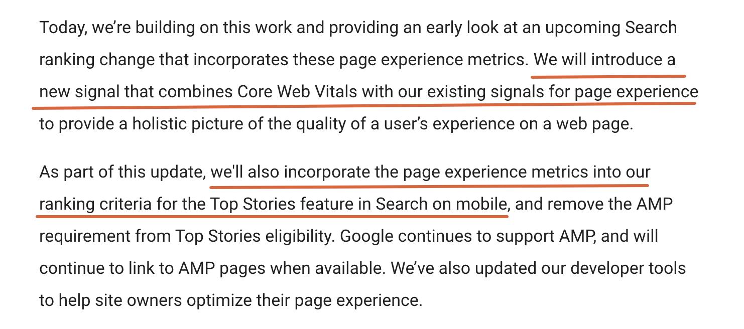 Core Web Vitals: Google Official Announcement