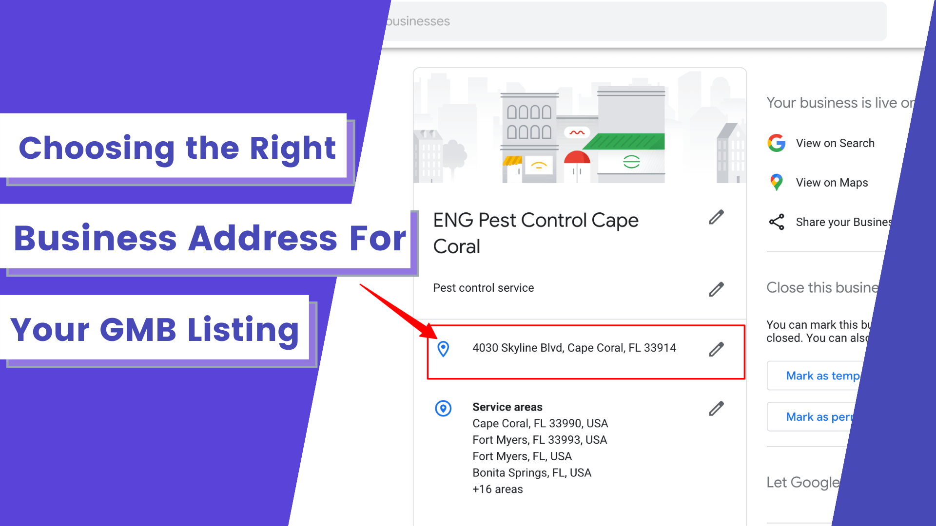 Selecting your GMB listing address